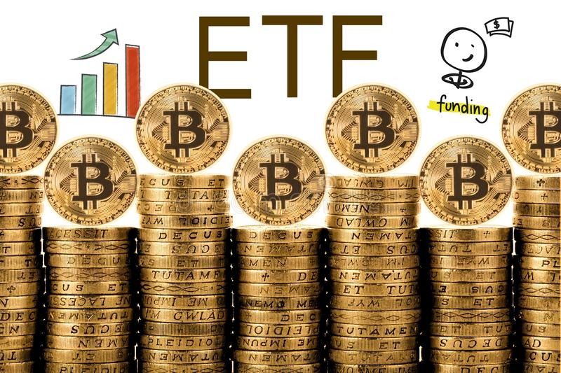 Concept of Bitcoin ETF Exchange Traded Fund,. Stock exchange, Investment, Crypto currency royalty free stock photo