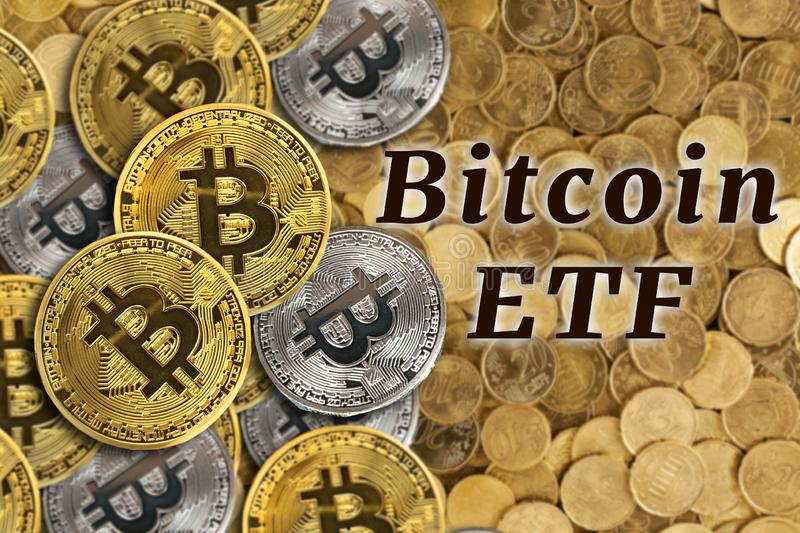 Concept of Bitcoin ETF & x28;Exchange Traded Fund& x29;, Stock exchange, Investment, Crypto. Currency royalty free stock photos