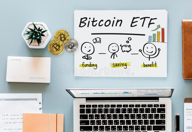 Concept of Bitcoin ETF & x28;Exchange Traded Fund& x29;, Stock exchange, Investment, Crypto. Currency royalty free stock image