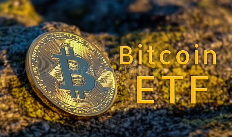 Concept of Bitcoin ETF Exchange Traded Fund. Stock exchange, Investment, Crypto currency royalty free stock photo