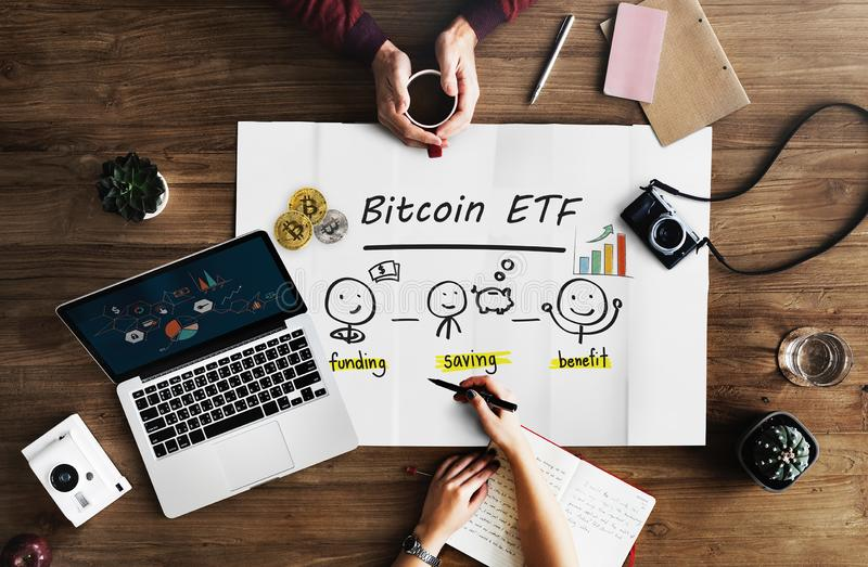 Concept of Bitcoin ETF Exchange Traded Fund,. Stock exchange, Investment, Crypto currency stock image