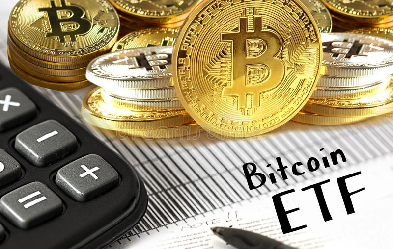 Concept of Bitcoin ETF Exchange Traded Fund,. Stock exchange, Investment, Crypto currency royalty free stock photography