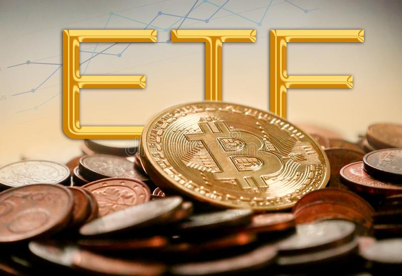 Concept of Bitcoin ETF Exchange Traded Fund. Stock exchange, Investment, Crypto currency stock photography