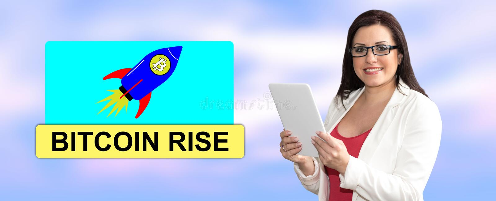 Concept of bitcoin rise stock image