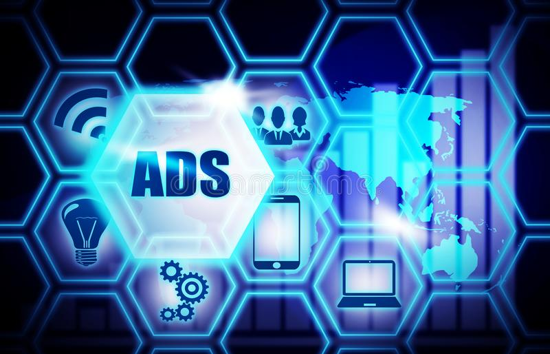 Concept bleu de modèle de fond d'ADS illustration libre de droits