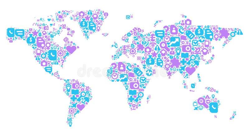 Concept bleu et violet de carte du monde illustration libre de droits