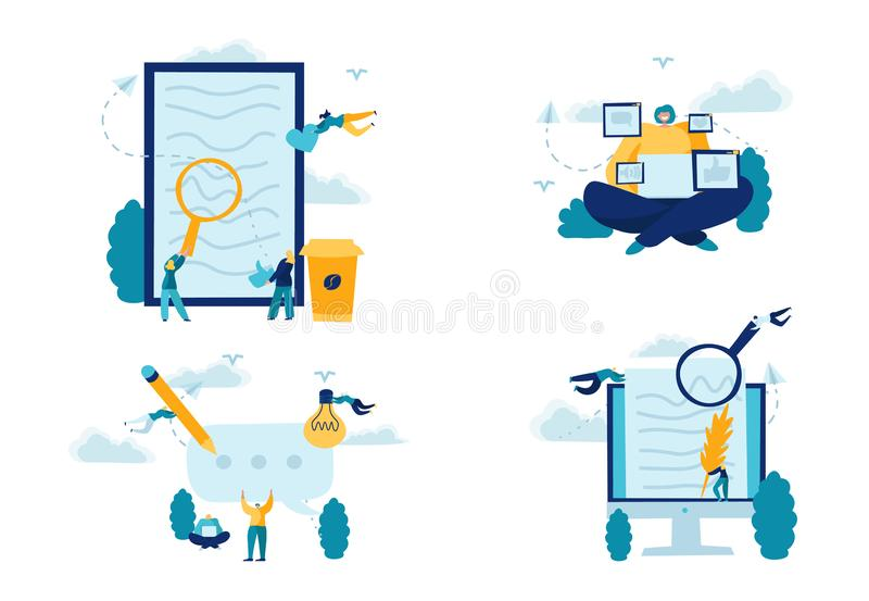 Concept Blogging. Creative writing, Freelance. Engaging Management Content. Media planning, Promotion in social network vector illustration