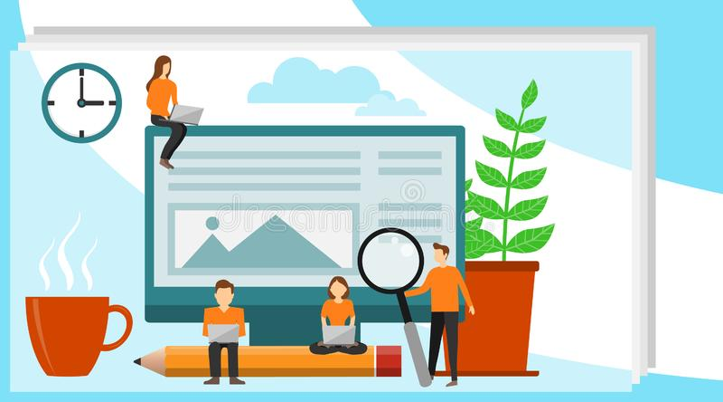 Concept Blogging, onderwijs, het creatieve schrijven, content management voor webpagina, banner, presentatie, sociale media vector illustratie