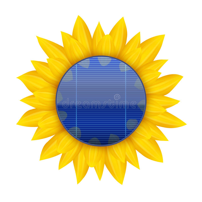 Concept of Blue electric solar panel with vector illustration