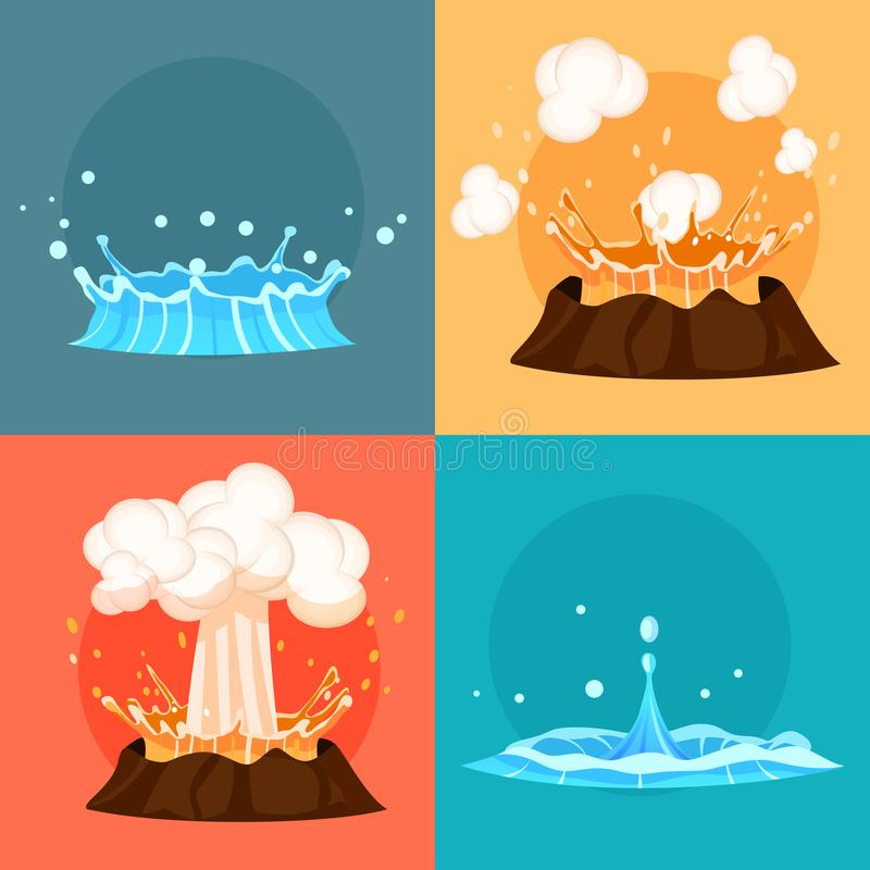 Concept of Blue Geyser and Red-hot Volcano Icons. Concept of blue geyser and red-hot volcano four icons. Magma nature blowing up with lava flowing down set royalty free illustration