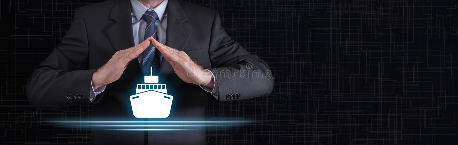 Concept of boat insurance stock photography