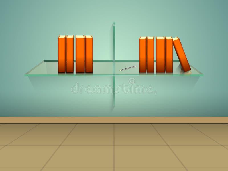 Concept boeken op glasplank vector illustratie