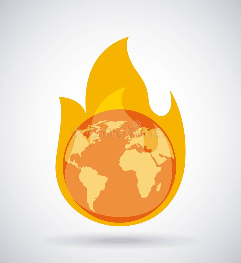 Concept brûlant de changement climatique du feu de la terre globale illustration libre de droits