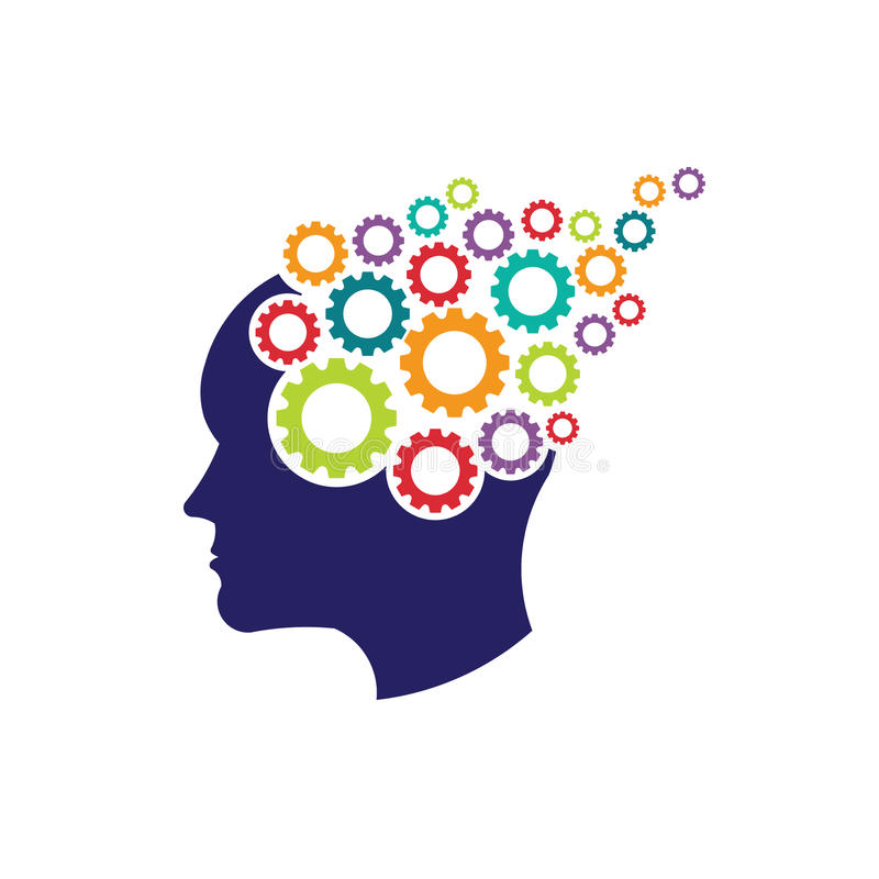 Concept of brain head with gears logo. Concept of thinking brain with gears royalty free illustration