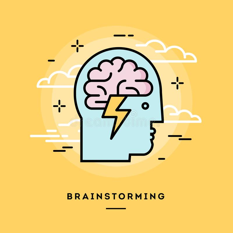 Concept of brainstorming, line flat design banner. Vector illustration vector illustration
