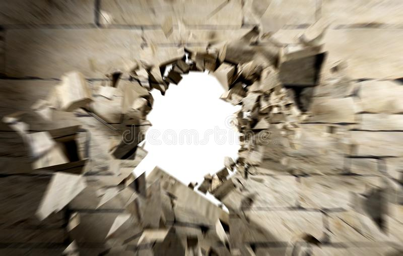 Hole in cement and brick wall stock images