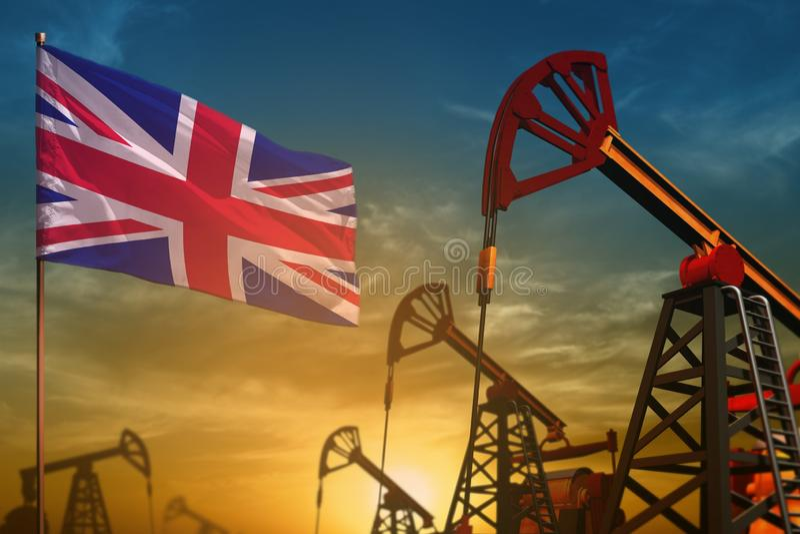 Concept BRITANNIQUE d'industrie pétrolière du Royaume-Uni Illustration industrielle - puits BRITANNIQUES de drapeau et de pétrole illustration stock