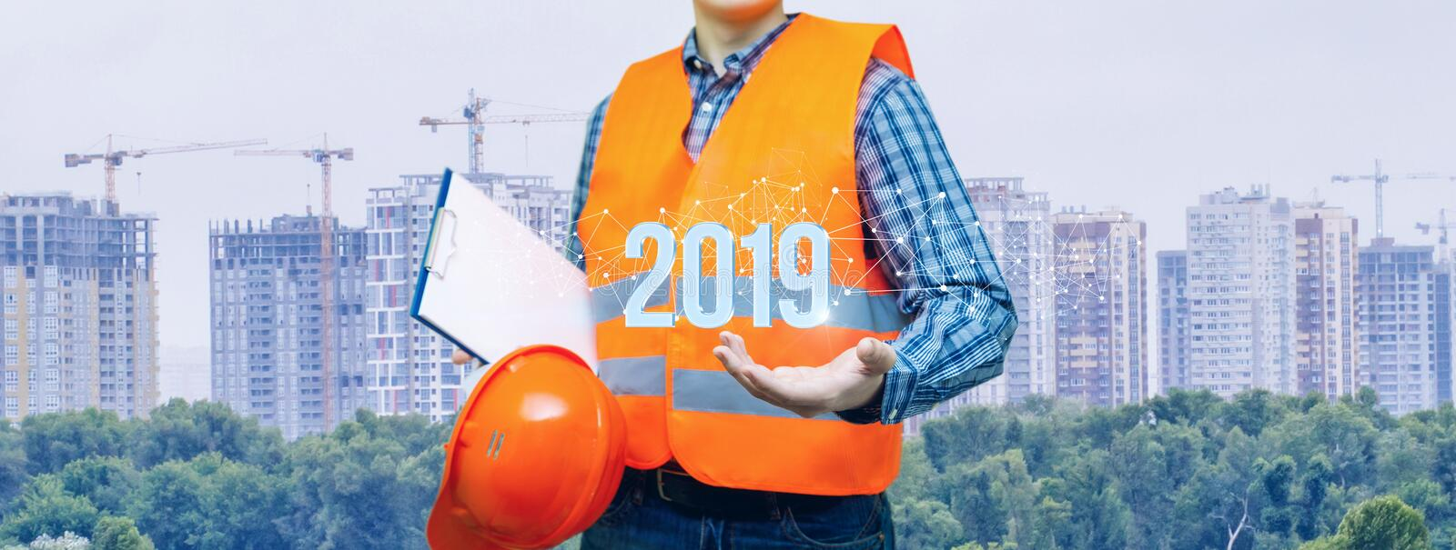 The concept is the building industry perspective of the future year royalty free stock image