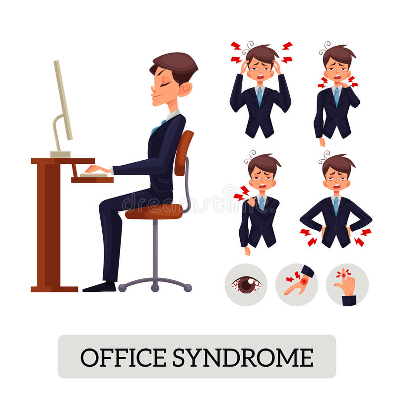 Concept bureausyndroom Het mannetje illustreert diverse lichaamspijnen vector illustratie