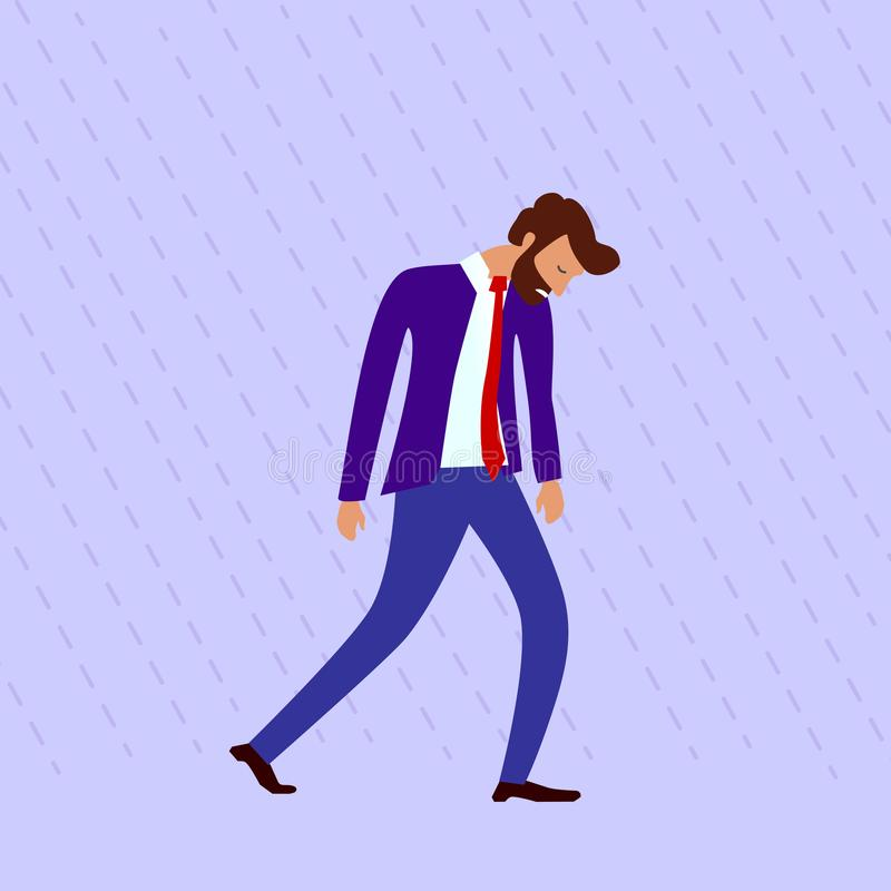 concept of burnout at work or drooping state after failure at work. a drooping bearded man in a suit with a red tie walks royalty free illustration