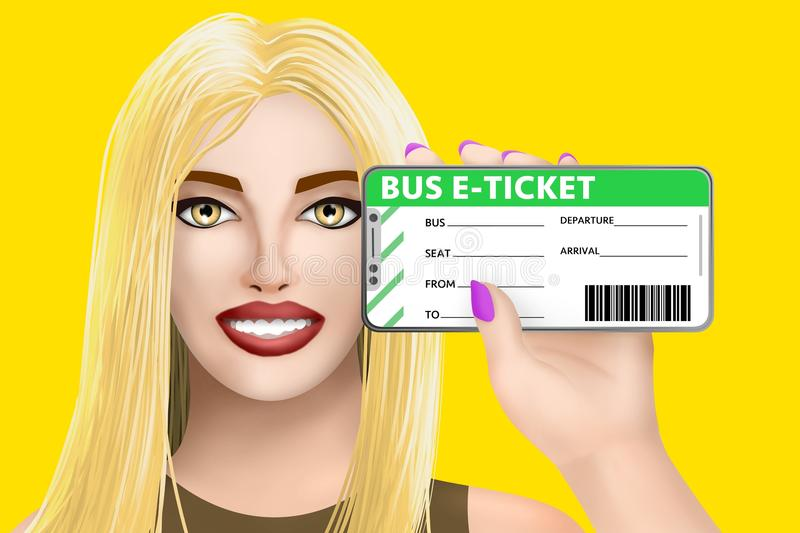Concept bus e-ticket electronic ticket. Drawn beautiful girl on bright background. Illustration stock illustration