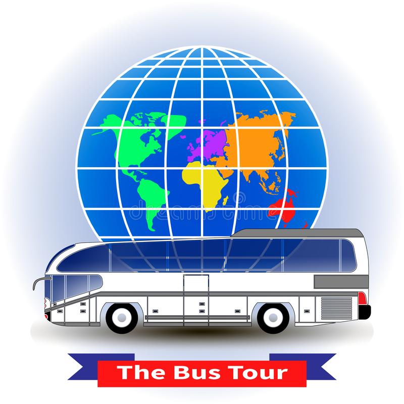 The concept of a bus tour around the world royalty free illustration