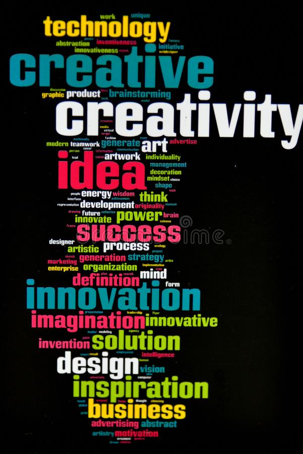 Creativity Innovation Ideas Business Solutions. Creativity as a Text Cloud Abstract Background .Innovation and technology concArt royalty free stock image