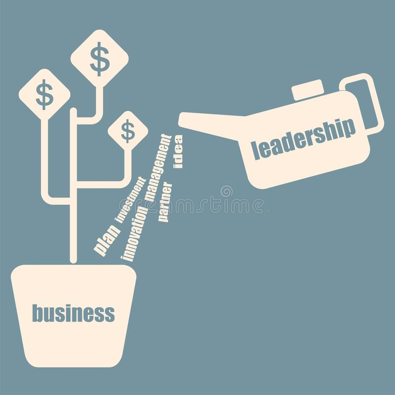 The concept of business development and investment. Watering the money tree. Vector royalty free stock photo