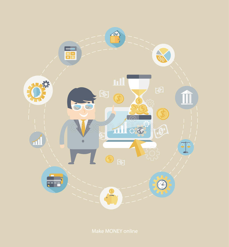 Concept of business . Flat design vector concepts for business, finance, make money with business man, financial icons and dollar symbols royalty free illustration