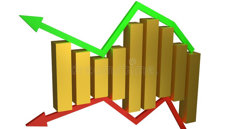 Concept of business gains and losses represented by gold bars sitting between green and red arrows isolated on white stock illustration