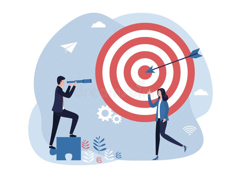 Concept business goal setting and achievement. A man with a spyglass looks into the distance, a woman shows a goal, strategy, work vector illustration