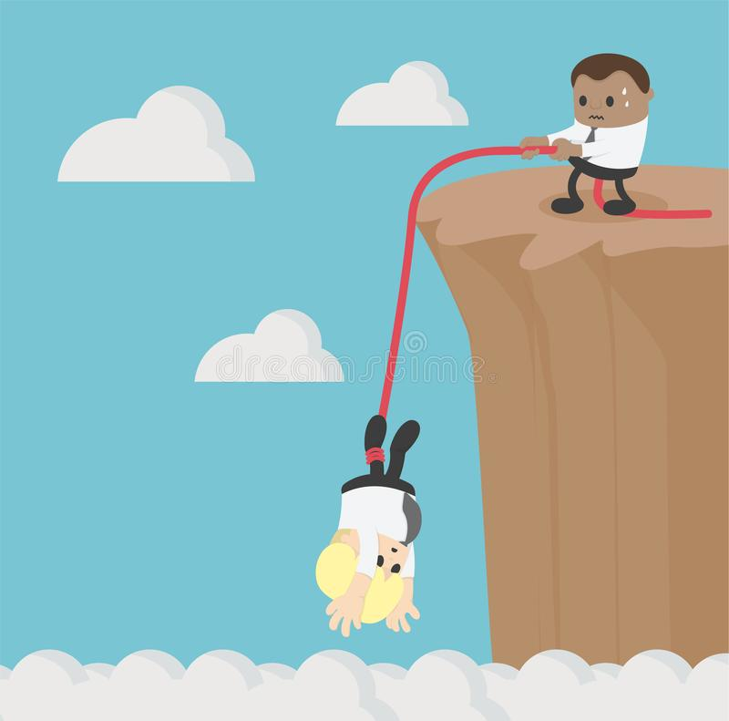 Concept business Help and assistance concept two businessman climbing royalty free illustration