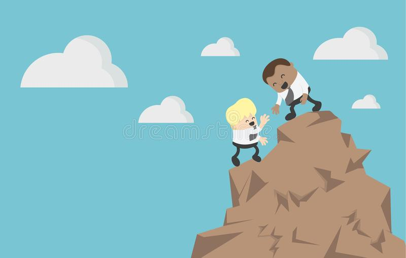 Concept business Help and assistance concept two businessman climbing on mountain and helping royalty free illustration