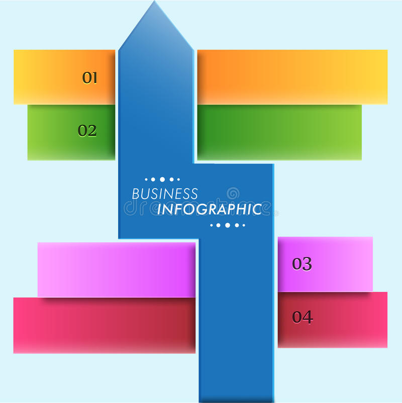 Concept of business infographics with arrow. Abstract web infographic layout for business purpose with arrow and numeric on sky blue background royalty free illustration