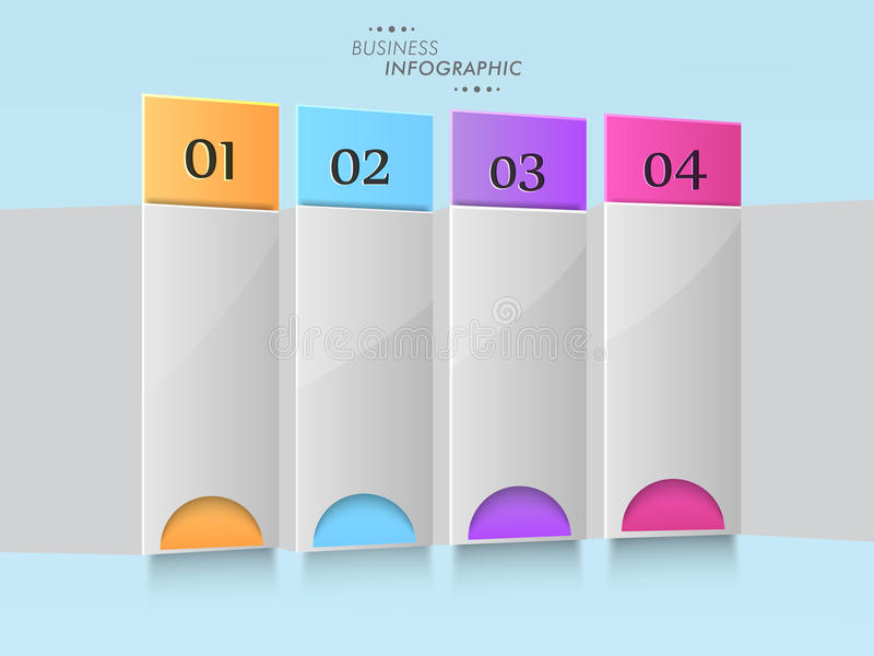 Concept of business infographics. Stylish business infographic layout with colorful papers and numeric on skyblue background stock illustration