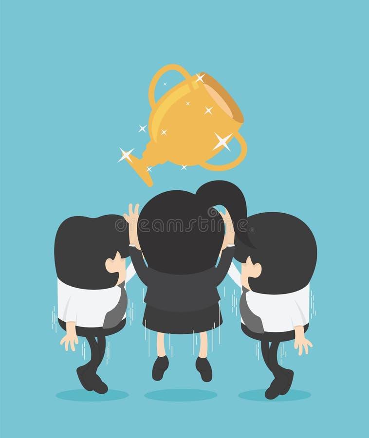 Concept Business Kobiety walczą między kolegami, zurpuj złoty kubek royalty ilustracja