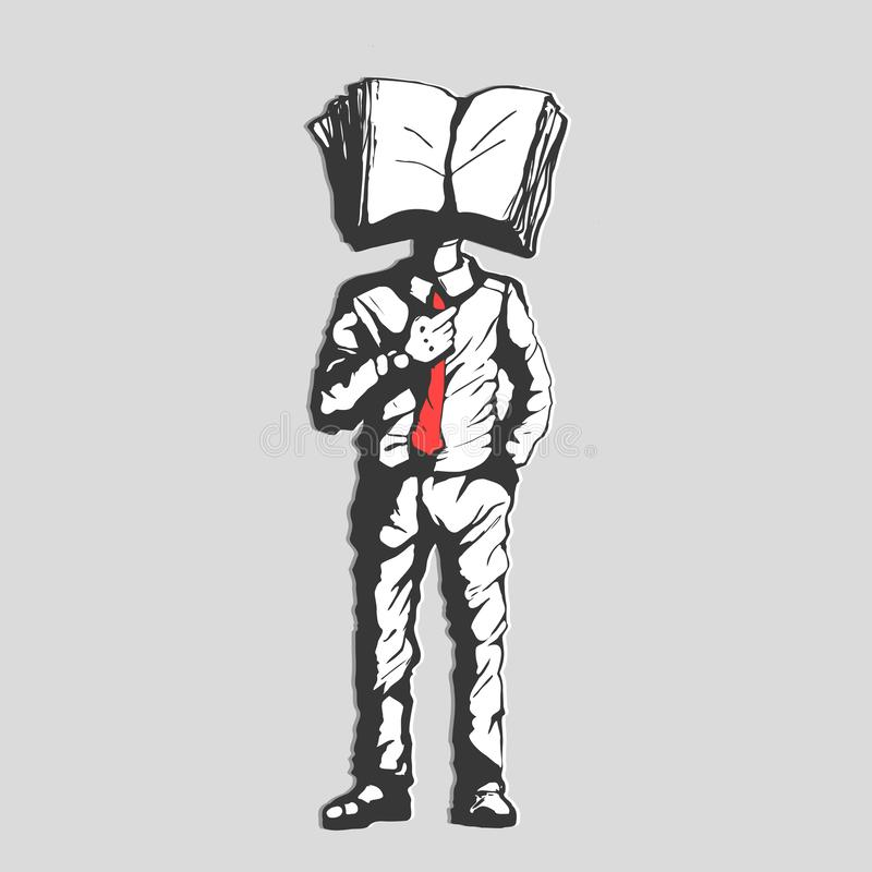Concept Business man with A book Head stock illustration