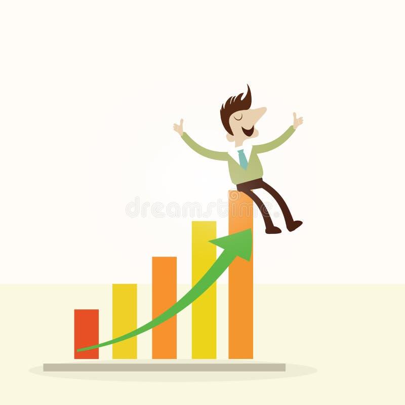 Concept, Business man sitting on profit graph. vector illustration