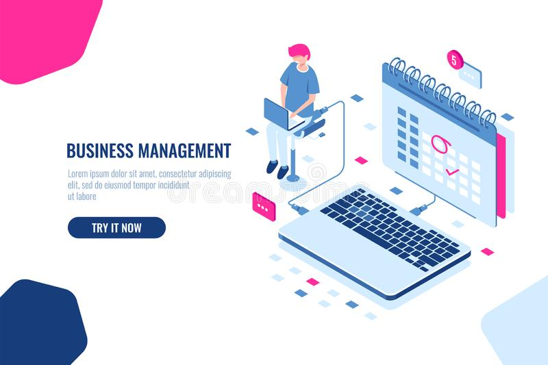 Concept of business manager, schedule in calendar, mark important Affair and event on the calendar, online task stock illustration