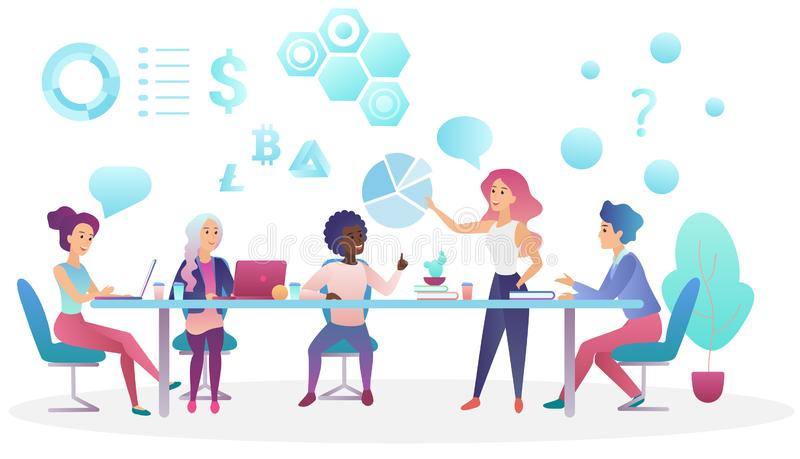 Concept of business meeting in coworking office center. Creative people team talking and working together vector. Illustration vector illustration