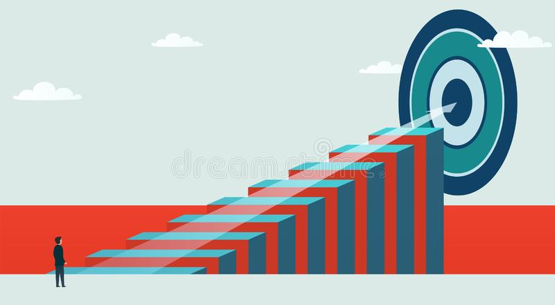 Concept and business opportunity. Businessman stands in the way to achieve the goal. Vector illustration stock illustration
