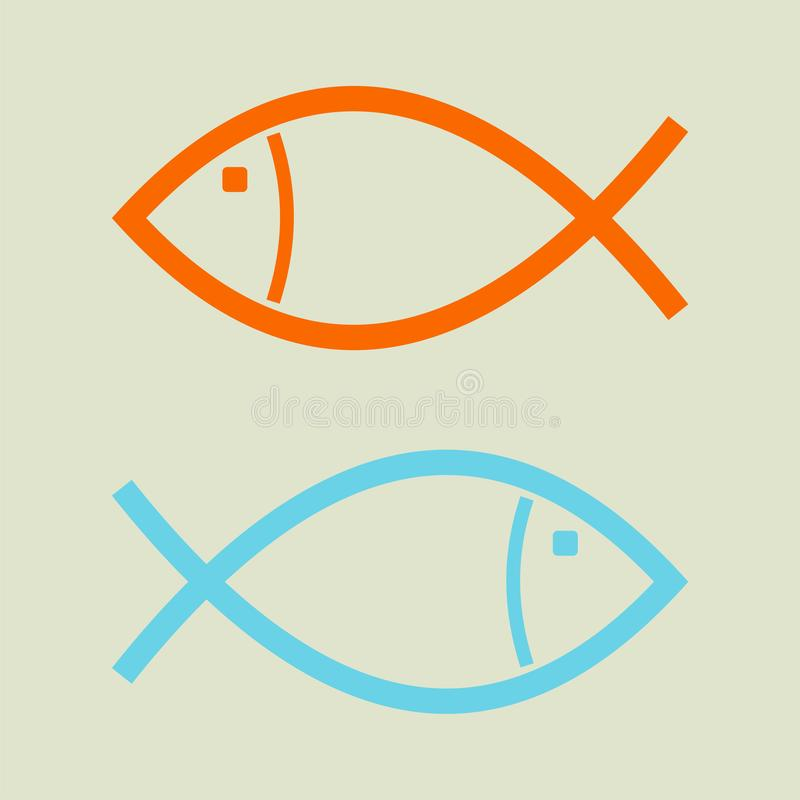 The concept of business opposition. Two fish swim in the opposite direction royalty free stock photos
