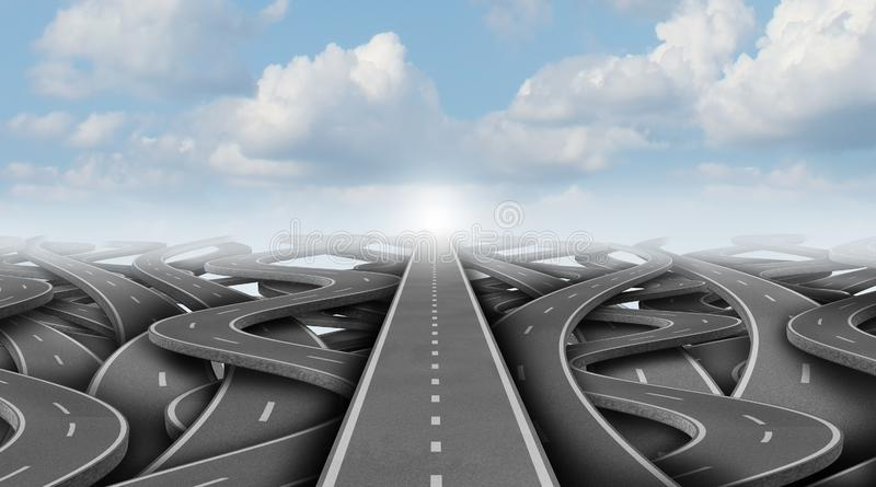 Concept Of Business Pathway. As a business success way forward escaping confusion as a 3D illustration stock illustration