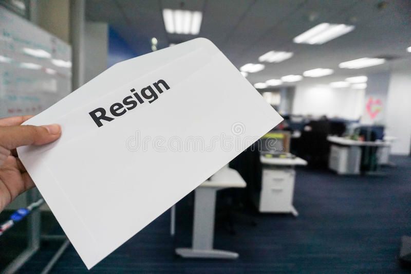 Concept of business people submit resignation letter. In office royalty free stock photography