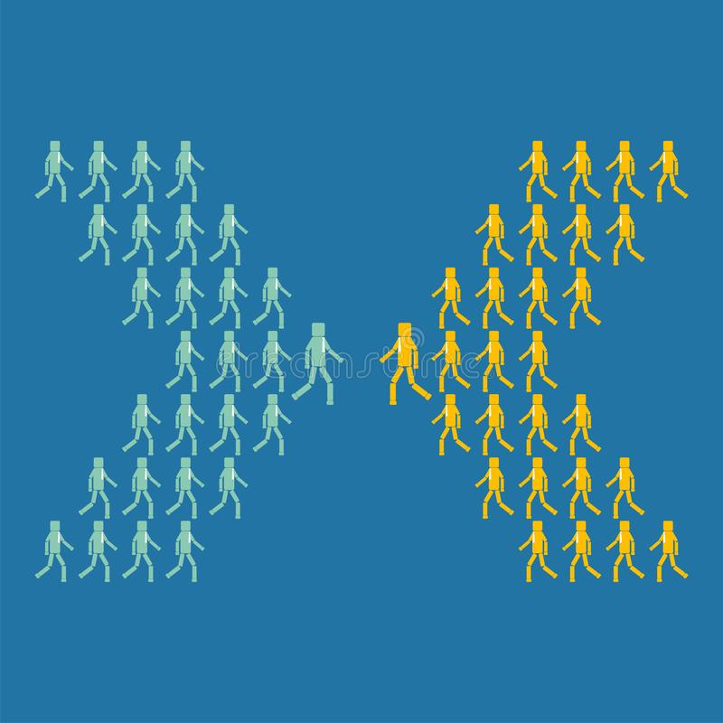 The concept of business or political opposition. Two groups of people go in different directions stock photo