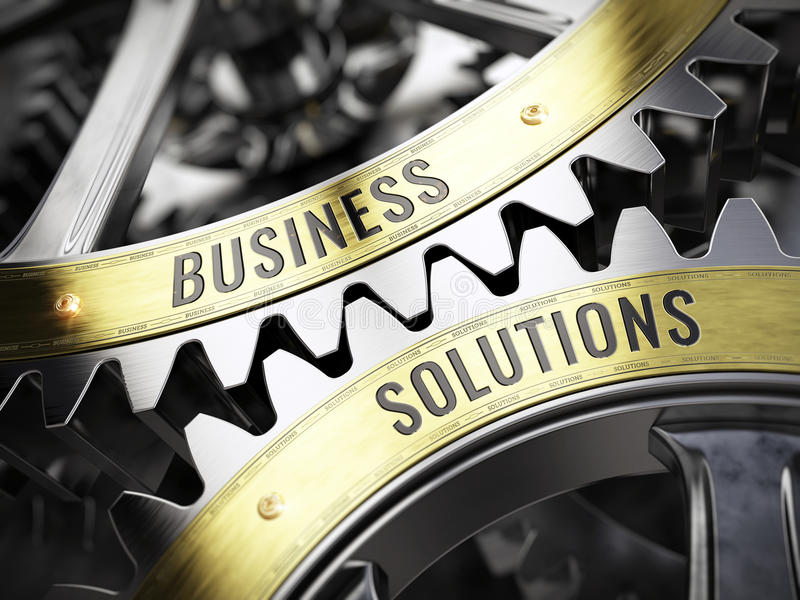 Concept Business Solutions on gearwheels stock illustration