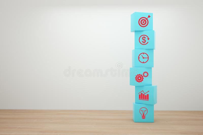 Concept of business strategy and action plan. Blue cube block stacking with icon. stock photography