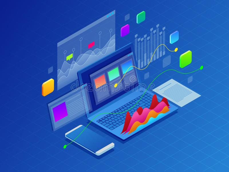 Concept business strategy. Illustration of data financial graphs or diagrams, information data statistic. Laptop and. Infographics isometric vector illustration stock illustration