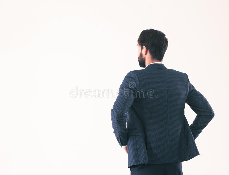 Concept of business success - businessman standing back to camer stock photos