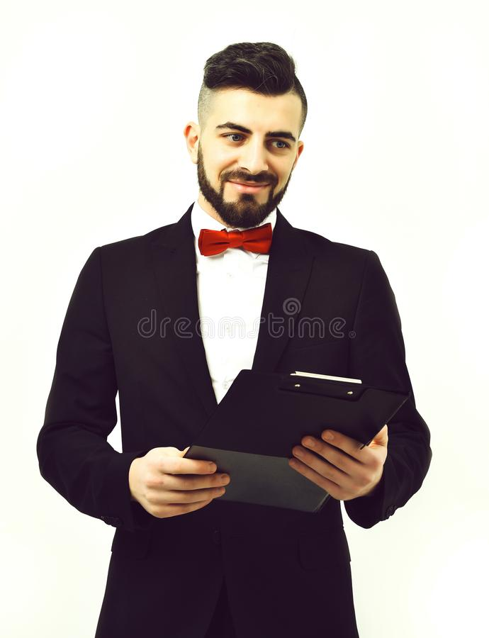 Businessman with beard or project manager in suit with smile. Concept of business success and employment, Businessman with beard or project manager in suit with royalty free stock photos